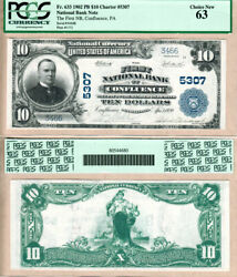 1902 Pb 10 First National Bank Of Confluence Pa Fr.633 Ch5307. Pcgs Ch Unc63