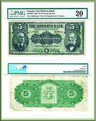 The Molsons Bank 1908 5 Note. Larged Size Chartered Bank Issue. Pmg Graded Vf20