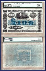 Scarce 1941 Northern Ireland Ulster Bank £100 Large Size Note, Pmg Vf25
