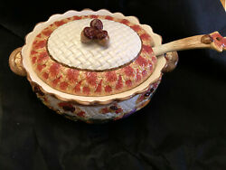 Fitz And Floyd 1995 Harvest Times Omnibus Tureen And Ladle Leaves Acorns New W/tag