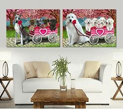 I love Dog Cat canvas Print Wall Art DecorValentine Pet Photo Lovers Gift