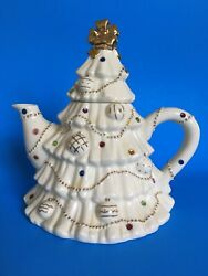 The Christmas Jeweled Teapot By Lenox 2003 Rhinestones Ivory And Gold 7 1/2
