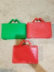 Mcdonald's Happy Meal Lunch Boxes / Pencil Box Vintage 1988 - 2 Red 1 Green