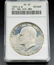 1971 1 Ike Eisenhower Proof Dollar Coin Anacs Pf67 Variety Ddo 001 Double Die I