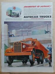 1944 Magazine Ad For Autocar Trucks - Used By Gulf Oil For Heavy Duty Hauling