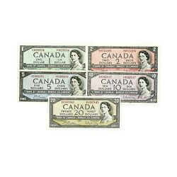 1 Set Of 5 Diff. Canada 1954 1 2 5 10 20 Vf