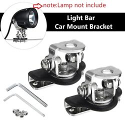 2x Stainless Car 4x4 4wd A Pillar Hood Mount Bracket Clamp Holder For Led Lights
