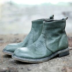 Mens 100 Genuine Cow Leather Side Zippers High Top Work Ankle Boots Shoes Sz