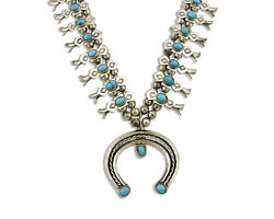 Old Navajo Squash .925 Silver Tobe Turpen Pawn Vault Turquoise Necklace