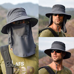 Hot Fishing Bucket Hat Outdoor Sport Sun Protection Neck Face Flap Cap Wide Brim $13.95