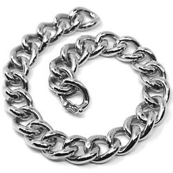 18k White Gold Bracelet Big Ondulate Rounded Gourmette Cuban Curb Links 9.5 Mm