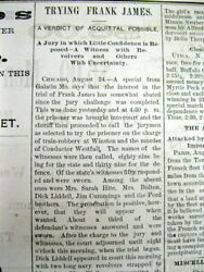4 1883 Newspapers Trial And Verdict Wild West Jesse James Gang Outlaw Frank James