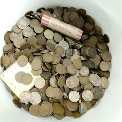 1920s Lincoln Wheat Cent Penny 50 Coin Roll Twentys 1920-1929 Average Circulated