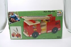 1998 Vintage 9846 Plan Toys Wooden Fire Engine Truck Toy Used