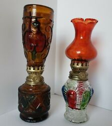 Vintage Stained Glass Kerosene Lamps Made In Hong Kong Lot Of 2