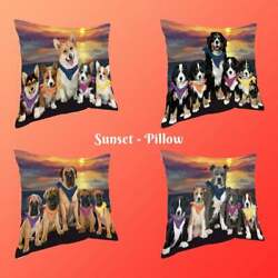 Family Sunset Dog Cat Pillow, Pet Photo Lovers Gift Home Decorative Pillow