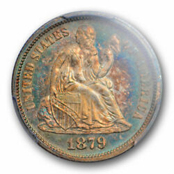 1879 10c Seated Liberty Dime Pcgs Ms 63+ Uncirculated Colorful Toned Key Date