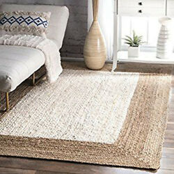 Flat-Weave Kilim Area Rug 4x6 Hand-woven Contemporary Oriental Wool WHITE
