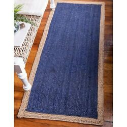 Hand Made Chunky Loop Natural Jute Area Rug in Blue