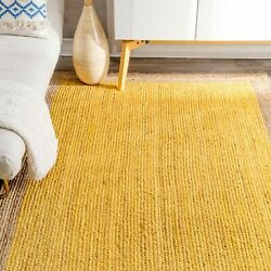 Braided Bohemian Natural Jute and Cotton Blend Area Rug in Multicolor