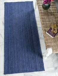 Hand Made Natural Jute Area Rug in Solid Blue Sage Color