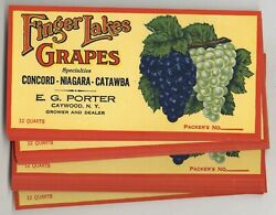 100 Finger Lakes Grapes Brand New York Grape Crate Labels, Wholesale, Porter