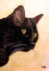 4x6 in MINI art print Black cat from Original water color painting