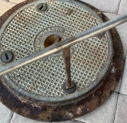 Rare Gladding Hearn Old Boat Ship Hatch Deck Cover Heavy Duty Door With Wrench