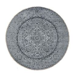9and03910x9and03910 Round Gray Broken Farsian Design Silk Wool Hand-knotted Rug R48527