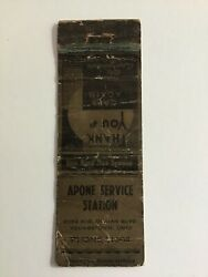 Apone Service Statiom Youngstown Ohio Regal Matchbook Cover B3