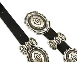 Navajo Concho Belt .925 Silver Hand Stamped Signed Rick Martinez Circa 80and039s
