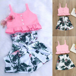Newborn Infant Toddler Baby Girl Crop Top+Shorts Short Pants Summer Clothes Set $11.59