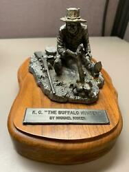 Michael Ricker's Pewter K.c. The Buffalo Hunter Sculpture Numbered Wood Base