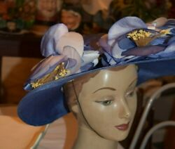 Jack Mcconnell Vintage Blue Hat Straw Flower Red Feather W Tags
