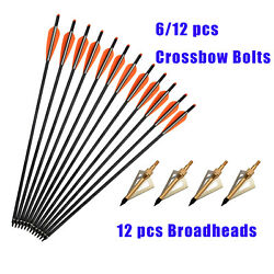 Carbon Arrows Crossbow Bolts +12 Broadheads 100 Grain Target Bow Hunting 16-22in