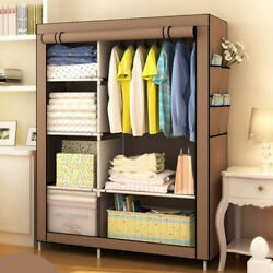 Heavy Duty Portable Closet Storage Organizer Clothes Shelf Wardrobe Rack Shelves