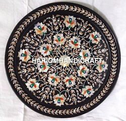 18'' Black Adorable Marble Plate Abalone Floral Inlay Art Collectible Decor Gift