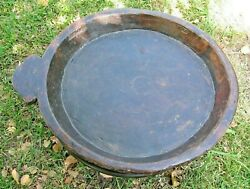 Antique Handmade Primitive Carved Wooden Bowl Very Large And Shallow Free Shipping