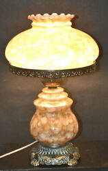 1975 Ef And Ef Industries No. 545x Hurricane Electric Lamp Marbled Glass