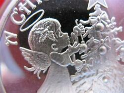 1-oz.cute Christmas Angel And Tree Engravable Ornament .999 Silver Coin +gold