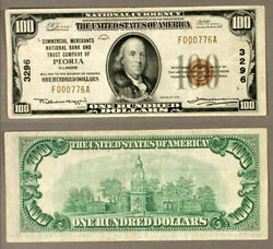 Fr. Peoria Peoria Il 100 1929 T-1 National Bank Note Ch 3296 Commercial Mercha