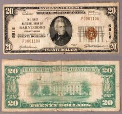 Barnesboro Pa 20 1929 T-1 National Bank Note Ch 5818 First Nb Very Good