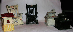 Vintage Metal Salt And Pepper Rocking Chairs And Coffee Grinders, Painted Tole Style