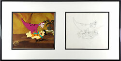 Dino In Stay Out Opc/opd Dino And Fred Ii Framed Flintstones Cel Drawing Signed