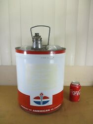 Vintage American Standard Oil Co Amoco 5 Gallon Tin Metal Can Red / White / Blue