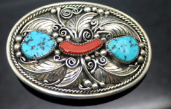 Jd Handcrafted By Native American Silversmith Turquoise Coral 925 Belt Buckle