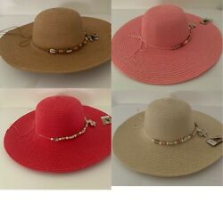 New fashion women summer sun beach straw shell Strap wide brim hat $12.99