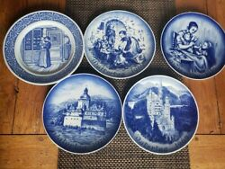 Blue And White Bareuther Waldsassen Five German Plates Limited Edition