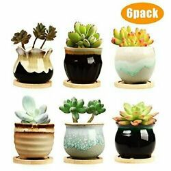 2.5quot; Flower Pot Ceramic Succulent Planter Pots with Drainage For Garden Set of 6