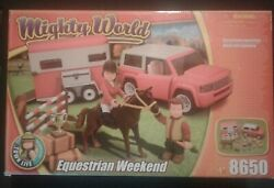 Mighty World Equestrian 8650 Suv With Horse Trailer Toy Set